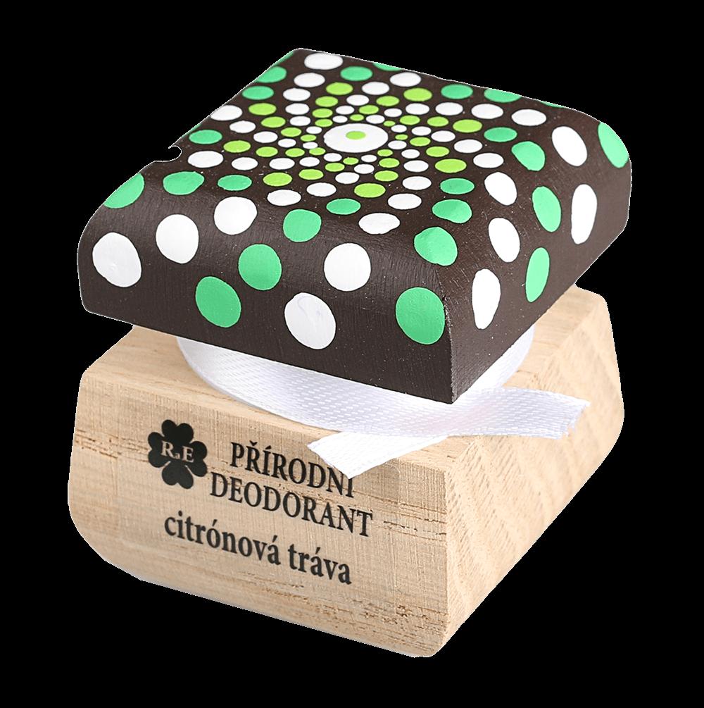 Přírodní krémový deodorant Citrónová tráva s ručně malovaným víčkem - mandala 15 ml