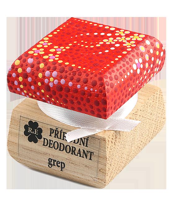 Přírodní krémový deodorant Grep s ručně malovaným víčkem - červená 15 ml