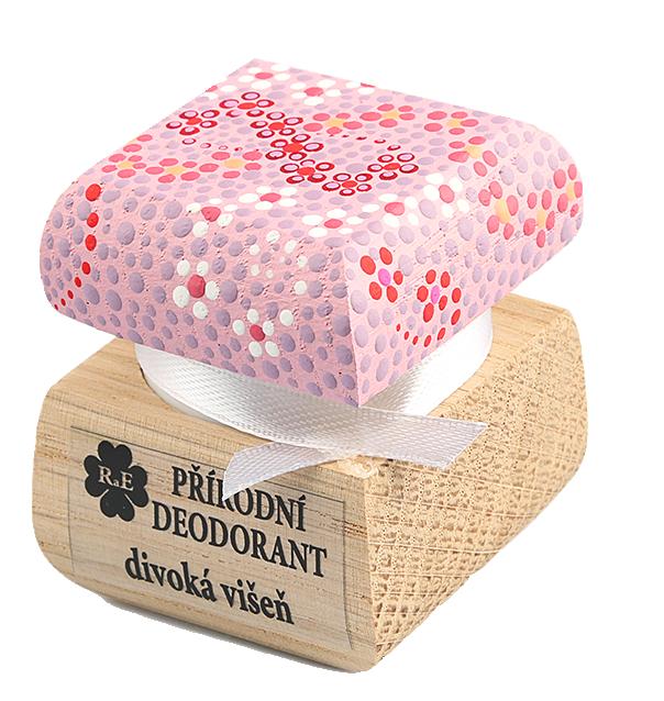 Přírodní krémový deodorant Divoká višeň s ručně malovaným víčkem - růžová 15 ml