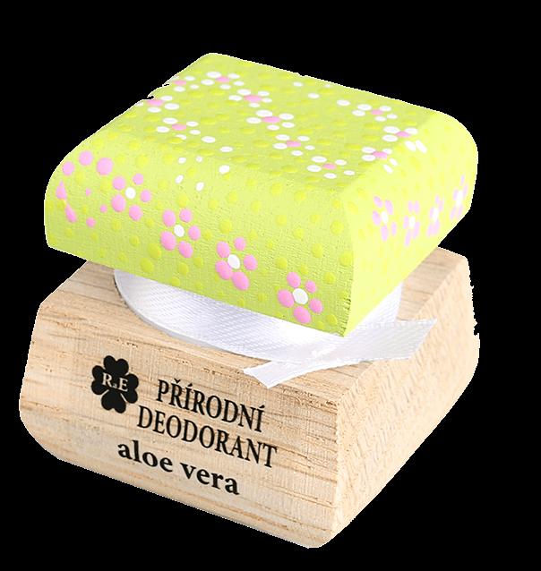 Přírodní krémový deodorant s vůní aloe vera a přidaným extraktem z aloe - s ručně malovaným víčkem 15 ml