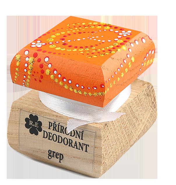 Přírodní krémový deodorant Grep s ručně malovaným víčkem - oranžová 15 ml