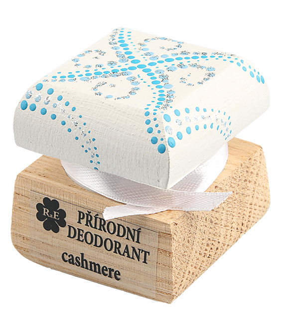 Přírodní krémový deodorant Cashmere s ručně malovaným víčkem - bílo-modrá 15 ml