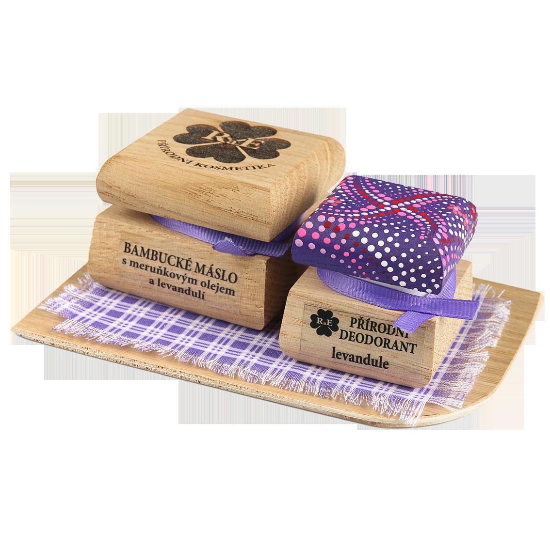 Bambucké tělové máslo 50 ml + Krémový deodorant Color 15 ml - Levandule