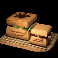 Bambucké tělové máslo Konopí 50 ml + Krémový deodorant Nature 15 ml - Santalové dřevo