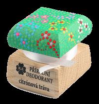Přírodní krémový deodorant Citrónová tráva s ručně malovaným víčkem - zelená 15 ml