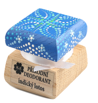 Přírodní krémový deodorant Indický lotos s ručně malovaným víčkem - modrá 15 ml